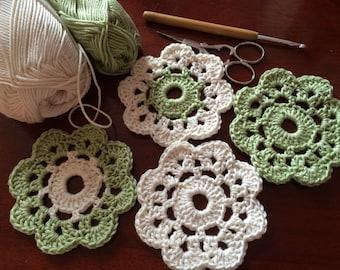 Set of 4 Cotton Crochet Coasters