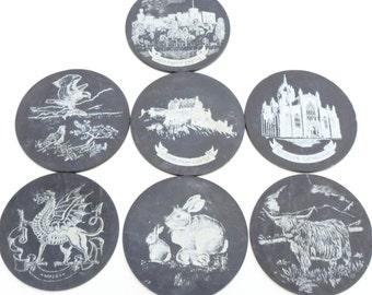 Slate coaster vintage coaster set slate UK United Kingdom collectibles set of 7 Dragon castles wedding gift anniversary gift