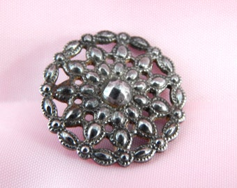 Court Dress Antique Button 19th Century Stamped and Pierced Steel