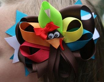 Turkey hair bow, hair bows for girls, girl bow, baby hair bow, toddler bow, thanksgiving hair bow