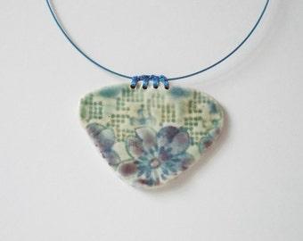 Ceramic pendant//Porcelain pendant//Blue flowers
