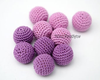 "Crochet beads 5 PCS 7/8"" 22 mm Purple Lavender Wooden crochet cotton beads Crocheted bead Round beads Necklaces"