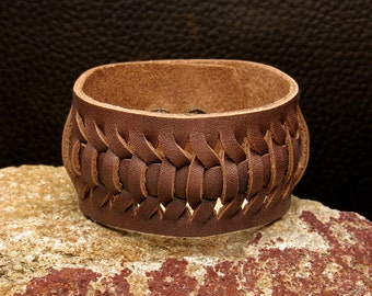 Leather bracelet,Cuff Wristband, Hand Tooled Leather Wrist Cuff, Brown Leather Cuff, Leather Knitted