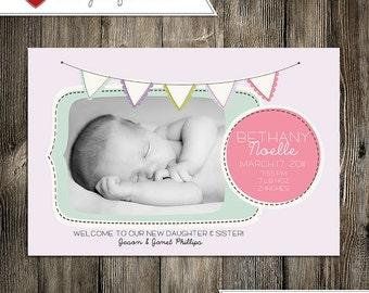 Baby Announcement: Baby Girl Bethany Noelle Custom Photo Digital Birth Announcement
