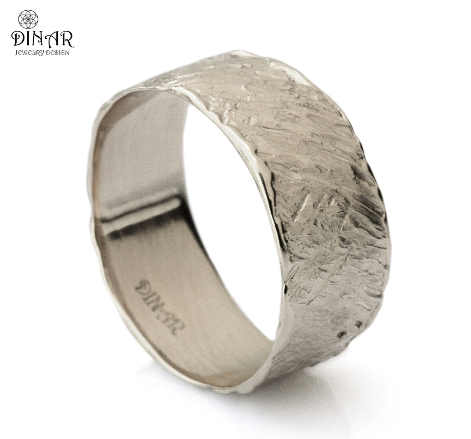 14k white Gold Hammered Wedding Band ,wide engraved wedding ring, men's gold ring ,women band, Handmade design, Israel, DINAR jewelry
