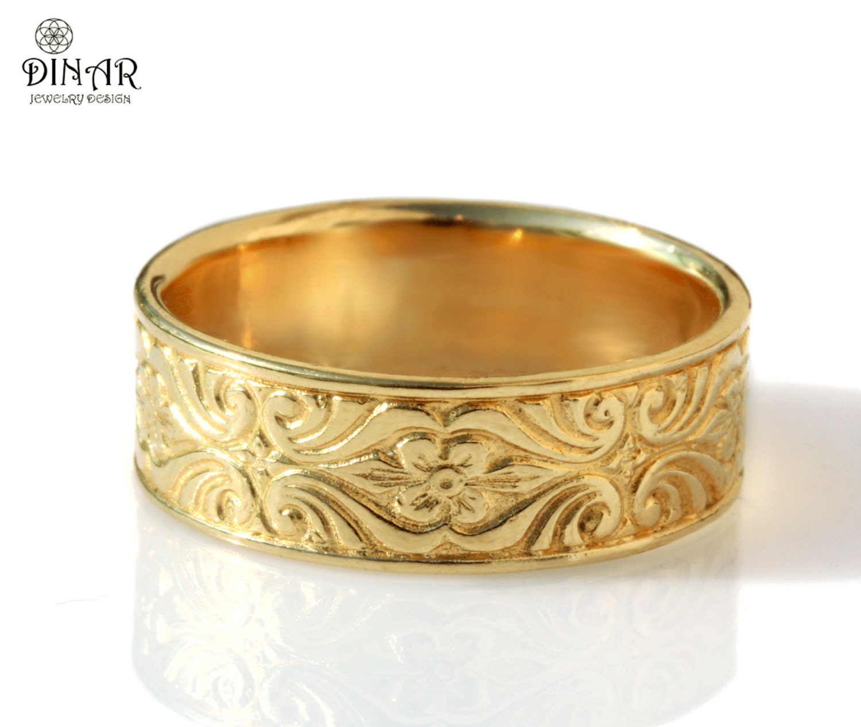 18k gold vintage design wedding band womens wedding band women s wedding ring zoom