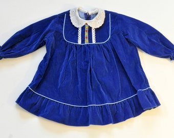 SALE: Vintage Crushed Velvet  Blue Dress for Toddler Girl 2T