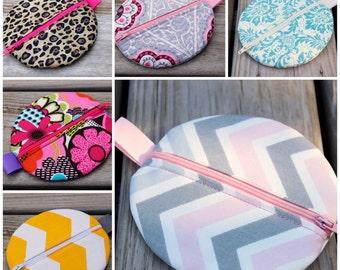 Pacifier Pod, Zipper Case, Pacifier Holder, Diaper Bag Accessory, You Choose the Fabric