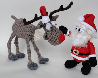Amigurumi Crochet Pattern Set - Santa Claus and Rudolf the Reindeer