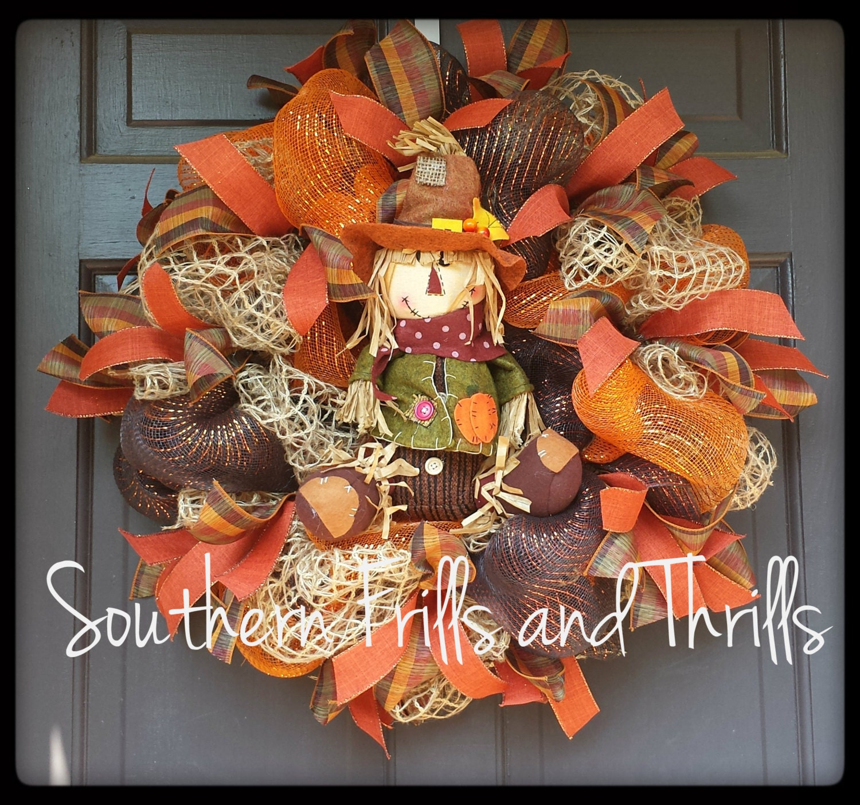 Fall Deco Mesh Wreath Autum Deco Mesh Wreath Burlap Wreath