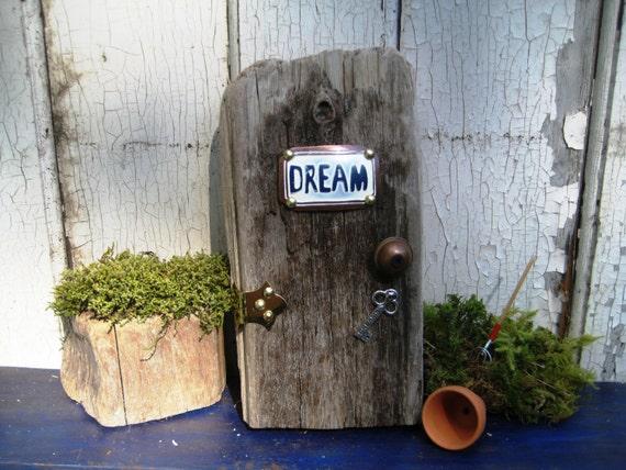 Wood fairy door woodland fairies elf door fairy decor for Wooden fairy doors to decorate