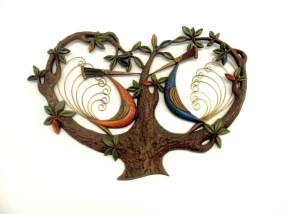 Mid Century Wall Decor Peacocks In Tree Metal By