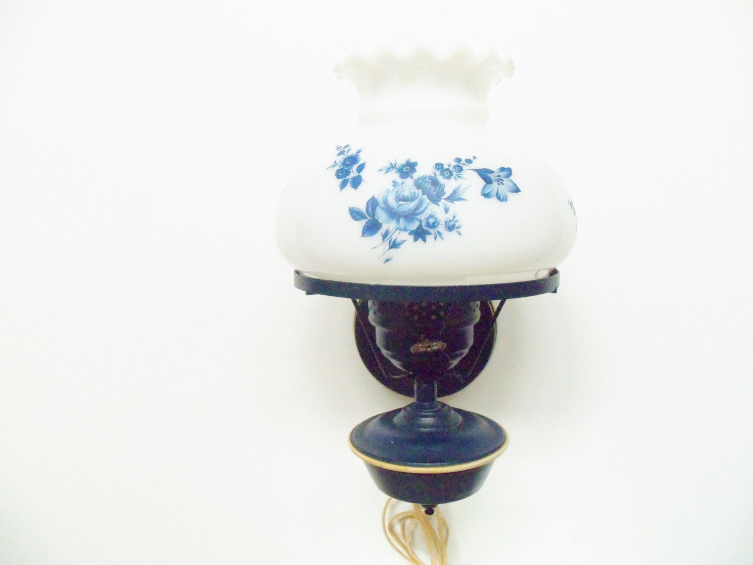 Wall Mount Electric Lamp Light Navy Blue Hurricane Style White