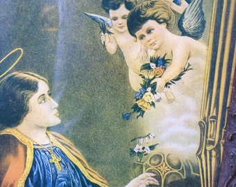 Antique Religious icon saint angel print wooden frame victorian