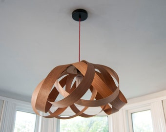 Daisy dining room pendant lampshade (cherry wood)