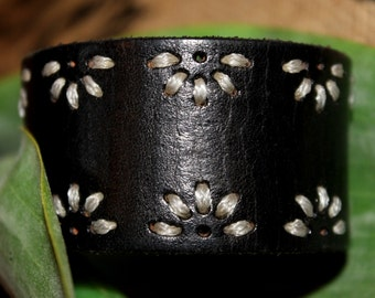 Black Leather Cuff Bracelet Braid Floral Design