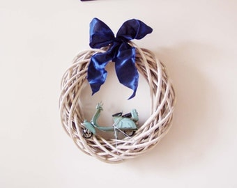 Vespa scooter wreath, wicker wreath in pale grey with collectible, Vespa scooter miniature and royal blue fabric bow, rustic decor wreath