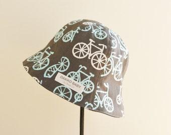 Baby boy summer hat, bicycle print smmer hat, toddler summer hat. infant summer hat  - made to order