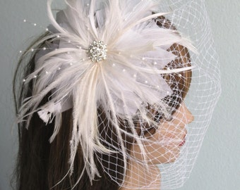 SALE Off White Wedding Headpiece with Bridal Birdcage Veil  Fascinator Wedding Hair Clip  Wedding Accessory-Feathers-Pearls-Vail