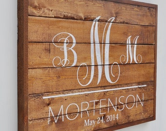 Bridal Shower Gift, Family Established Sign, Personalized Family Name sign, Custom Rustic Wood Sign, Anniversary Gift, White