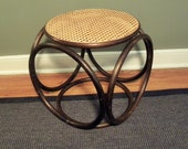 Very Nice Mid Century Vintage Bent Wood- cane Table/Foot Rest
