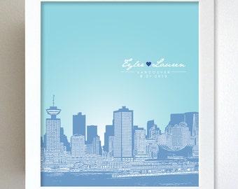 Custom Keepsake / Vancouver Canada Skyline Anniversary Gift  / Custom Gift / Any Cityscape Available