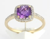 14K yellow   Gold amethyst Cushion Cut Ring,  Diamond Ring Size 71/4 , Diamond Engagement Ring