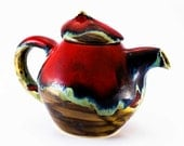 Coffee pot teapot kettle pottery red pot ceramic stoneware pot - red brown green turquoise - unique handmade pot