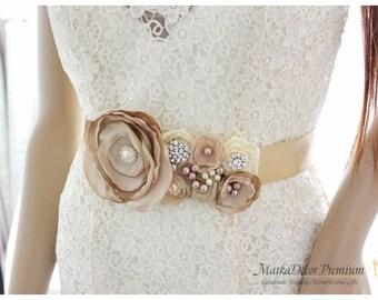 Champagne Bridal Sash  Wedding Bridesmaid Belt Beaded Brooch Sash Jeweled Sash Pearl Flower Belt Custom Sash in Tan, Ivory and Champagne