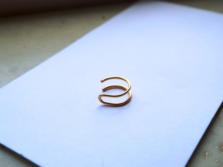 tiny 24k gold nose ring lip ring piercing