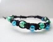 Blue and green shamballa style bracelet.
