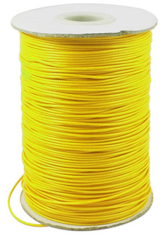 10 Yards Of 1 5mm Yellow Waxed Polyester Cord From
