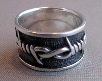 Vintage Sterling Silver Barbed Wire Ring