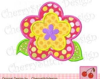 "Flower Embroidery Applique -4x4 5x5 6x6""- Flower 03"
