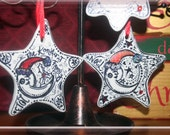 """One of a Kind CUSTOM Hand Drawn Star-shaped Christmas Ornament with red accents and """"bling"""""""