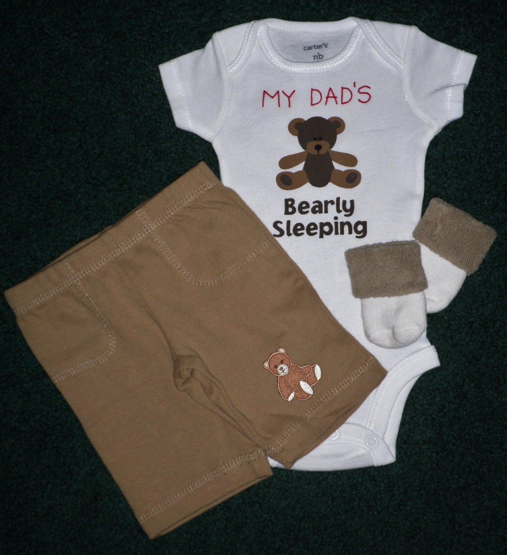 Newborn Little Boy Gift Set My Dad S Bearly Sleeping