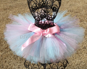 Pink, Light Blue and Gray Tutu for Newborn - Infants - Toddlers