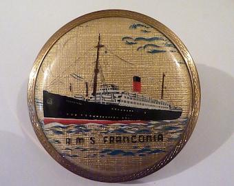 "Vintage Stratton ""Scone"" R M S Franconia compact Stratton ships compacts 1950s boat compacts pocket mirrors vintage bridesmaids gifts"