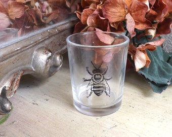 Bee Glass Votive Candle Holder - Bumblebee Glass Tea Light Holder