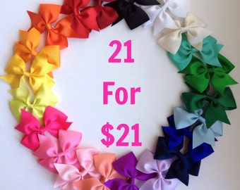 3.5 inch Hair Bow Clips One Dollar Each Hair Bows 1.00 Set of 21 hair bows One Of Each Color READY TO SHIP