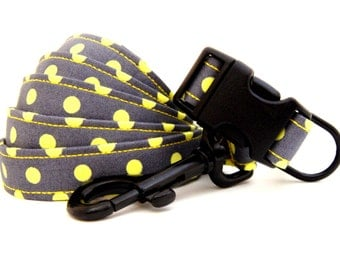 HIP PUP.....Neon Yellow Dots......Dog Collar and Leash Set