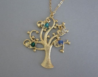 Personalized Gold Family Tree Necklace. Gold Filled. Heart Family Tree Pendant. Birthstone Jewelry. Mother's Day Gift for Grandma & Mom
