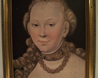 Ornate French Baroque Woman Portrait Reproduction Vintage