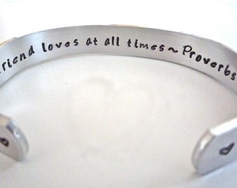 """Proverbs 17:17, Bridesmaid/Sister/Mother/Aunt/Daughter/Friendship Bracelet,   """"A friend loves at all times"""" by TheSilverSwing"""