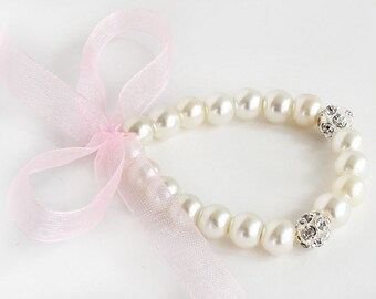 Blush flower girl bracelet, pearl bracelet, light pink organza ribbon, little girl bracelet, wedding gift, junior bridesmaid