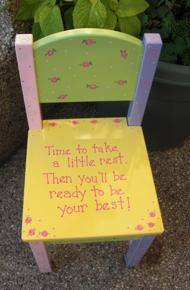Hand Painted Childrens Chair Time Out Chair