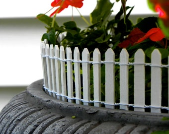 """Fairy Garden Fence White Picket - terrarium accessories - 18"""" or 8.5"""" long - wired - wood - white picket fence - edging -  supply"""