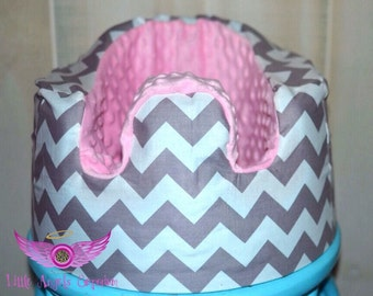 Grey Chevron and Light Pink Minky Bumbo Seat Cover