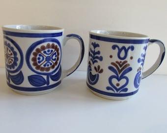 Mid Century Ceramic Mugs Stylecraft Japan Birds Hearts Flowers
