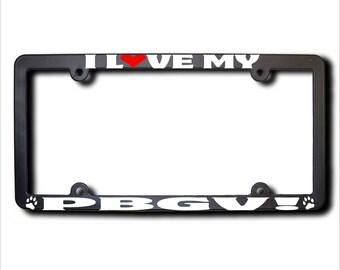 I Love My PBGV License Plate Frame USA (T)
